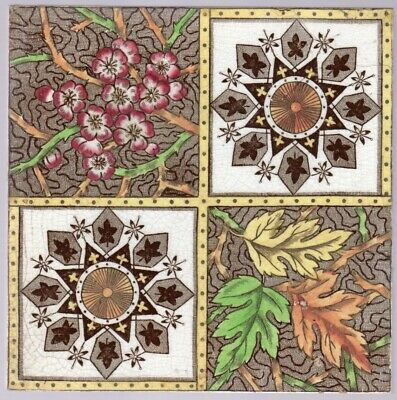 Decorative Art Tile Co. - c1887 - Aesthetic Floral - Antique Victorian Tile