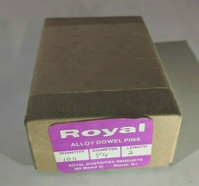 """Pack of 100 - 1/4"""" x 2"""" Royal Dowel Pins Alloy Steel"""