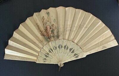 Beautiful Vintage Antique Silk Hand Fan Signed A Laurence
