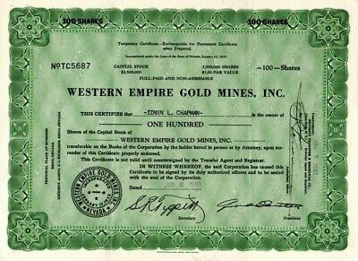 Western Empire Gold Mines of Nevada 1933 Stock Certificate - #5687