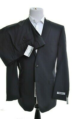DKNY Mens Trim Fit Black Pinstriped 2 Button 100% Wool Suit 46L 39W