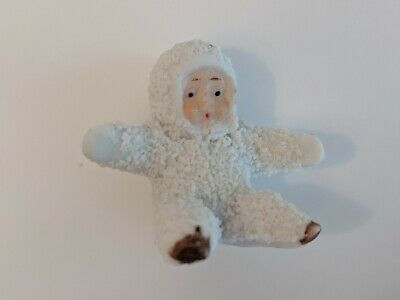 Antique German Bisque Snow Baby Figurine Hertwig Snowbabies Collectible Germany
