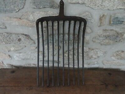 Antique 18th C. Hand Forged Wrought Iron Pitch Fork Head 10 Tines Farm Tool