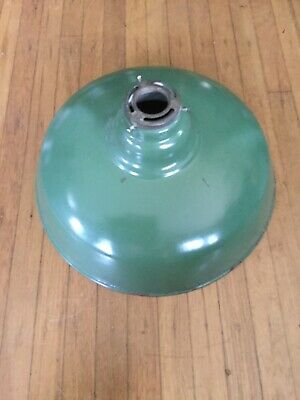 VINTAGE INDUSTRIAL PORCELAIN ENAMEL BARN GAS STATION 13 1/2 Inch Round Light