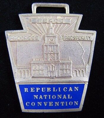 Old REPUBLICAN NATIONAL CONVENTION Medallion Fob RNC PEACE PROGRESS PROSPERITY