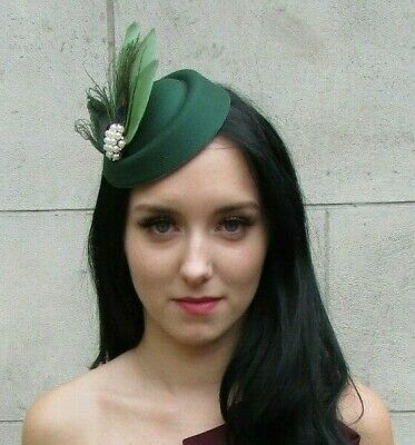 Bottle Dark Green Sage Peacock Feather Pillbox Hat Hair Clip Fascinator 7381