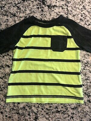 Infant Boys, Okie Dokie, Gray & Bright Green/Yellow Long Sleeve Shirt, 12 Months