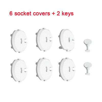6PCS Socket Cover+2PCS Key Baby Safety Protection Cover Anti-electric Socket