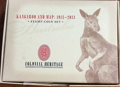 2013 kangaroo and map stamp and coin set - perth mint