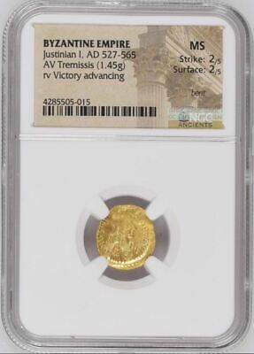 "NGC Scarce Eastern Roman / Byzantine GOLD Tremissis, JUSTINIAN I, ""Mint State"""