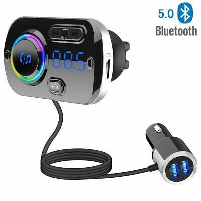 Bluetooth Wireless 5.0 Car FM Transmitter Audio Adapter Hands-Free Calling Siri