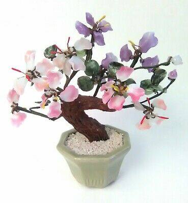 Vintage CHINESE JADE Glass BONSAI TREE Pink & Purple FLOWERS with GREEN LEAVES