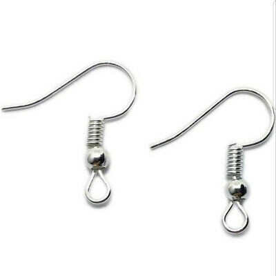 925 Silver Earring Hook Wires Fish Hooks Jewellery Findings Diy 100PCS