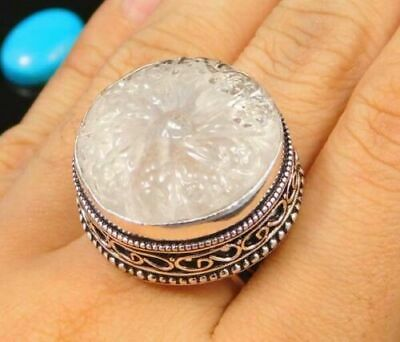 Charming Chalcedony Silver Carving Jewelry Ring Size 8.75 JC1667