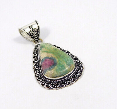 Ruby Zoisite .925 Silver Plated Carving Pendant Jewelry JC7505