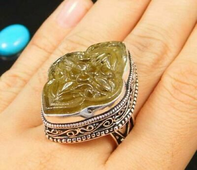 Charming Chalcedony Silver Carving Jewelry Ring Size 9 JC1725