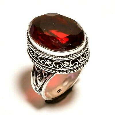 Charming Garnet Quartz Silver Carving Jewelry Ring Size 8.50 JA793