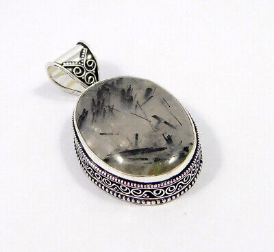 Black Needle Rutile .925 Silver Plated Carving Pendant Jewelry JC7489