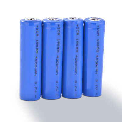 4Pcs 18650 Battery 4200mAh 3.7V Rechargeable Liion Lithium Cell Button Top BC964