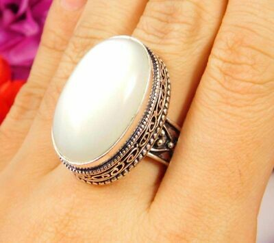 Lovely Sillimanite Silver Hand Carving Jewelry Ring Size 7.75 JC3078
