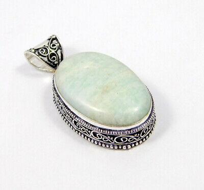 Amazonite .925 Silver Plated Carving Pendant Jewelry JC7481