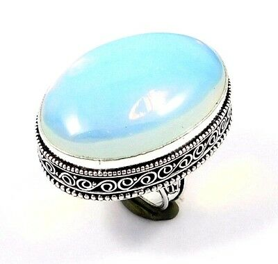 Opalite Opal .925 Silver Awesome Carving Ring Jewelry JC7575