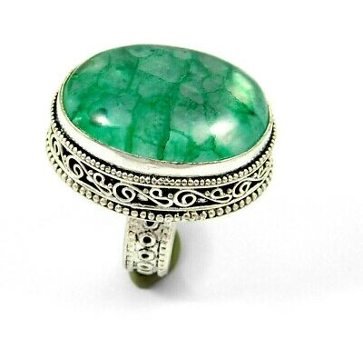 Charming Crack Quartz Silver Carving Jewelry Ring Size 8.75 JT2338