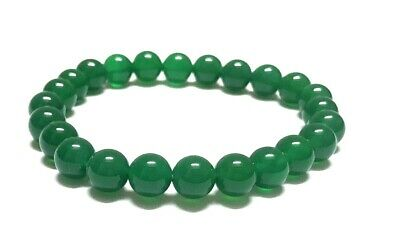 Great Beads Green Round Onyx Rubber Bracelet Jewelry PP46