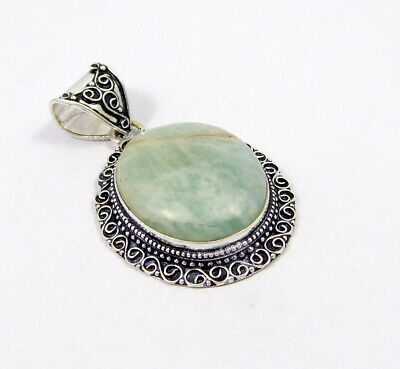 Amazonite .925 Silver Plated Carving Pendant Jewelry JC7482