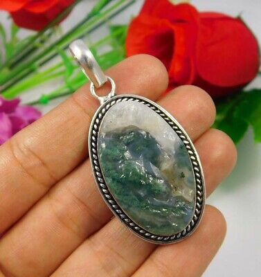 Green Moss Agate Druzy .925 Silver Plated Handmade Pendant Jewelry JC3706