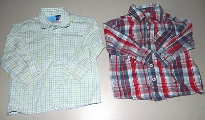 Boys Plaid Button Down Shirts Lot Of 2 Size 18 Mo. Long Sleeved Cherokee & Goodl