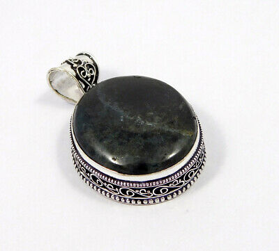 AAA Green Moss Agate .925 Silver Plated Carving Pendant Jewelry JC7487