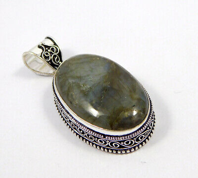 Labradorite .925 Silver Plated Carving Pendant Jewelry JC7416