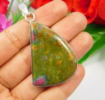 Ruby Zoisite .925 Silver Plated Handmade Pendant Jewelry JC3738
