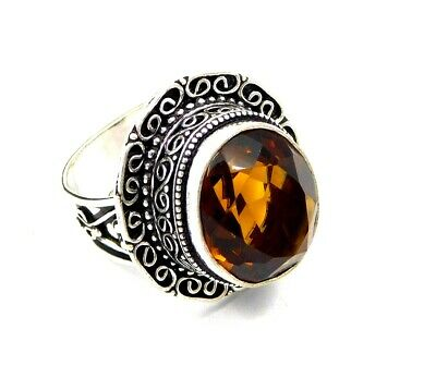 Lovely Citrine Silver Hand Carving Jewelry Ring Size 7.25 JC3235