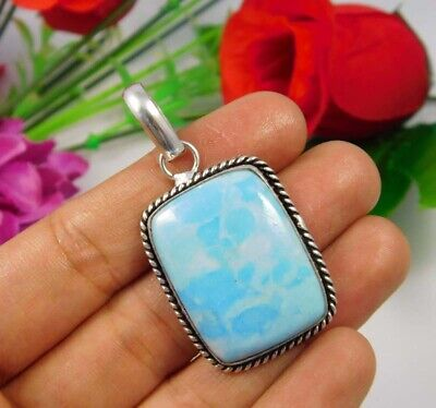 AAA Heated Larimar .925 Silver Plated Handmade Pendant Jewelry JC3691