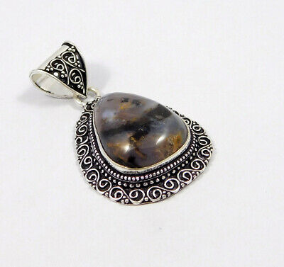 AAA Black Needle Rutile .925 Silver Plated Carving Pendant Jewelry JC7495