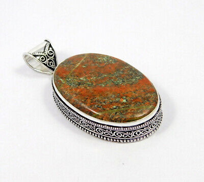 AAA Unakite .925 Silver Plated Carving Pendant Jewelry JC7465