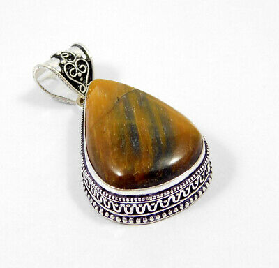 AAA Tiger's Eye .925 Silver Plated Carving Pendant Jewelry JC7409