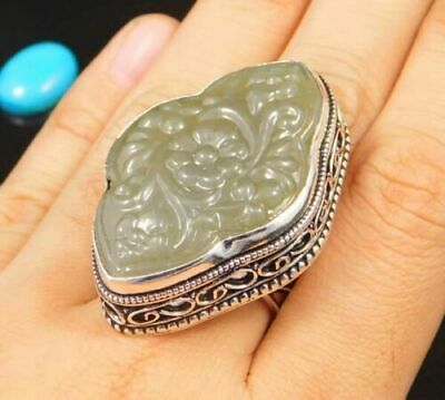AAA Charming Chalcedony Silver Carving Jewelry Ring Size 8.25 JC1693