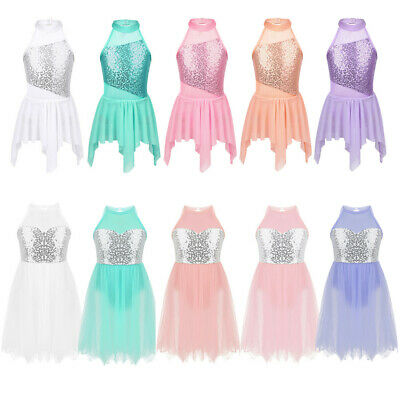 Girls Ballet Dress Kids Sequins Dance Leotard Skirt Gymnastics Dancewear Costume