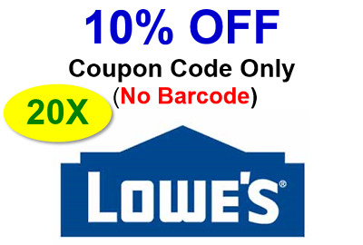 (20x) LOWES 10% Off Promo.20Coupon.Codes Only No Barcode-Not 20 50 100-bulk sale