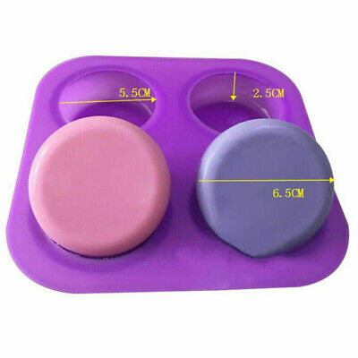 Silicone 4 Round Basic Plain Round Corner Soap Lotion Bar Mold Making DIY Newly