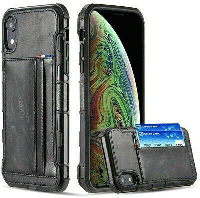 """For iPhone XR (6.1"""") - Black Leather Card ID Wallet Pouch Holder Hard Case Cover"""