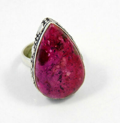 Natural Rock Calcy Gemstone Ring Size-7.75 Silver Plated Fashion Gift JT1423