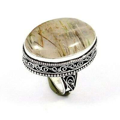 Golden Needle Rutile Ring Size-8.25 Silver Plated Bohemian Fashion Gift JT2363
