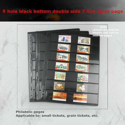 10 Sheet of Stamp Stock Page (7 Strips) & Double Sided & 9 Binder Holes Black