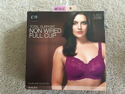 Pink Marks & Spencer Total Support Non Wired Full Cup Bra Dark Magenta 44B