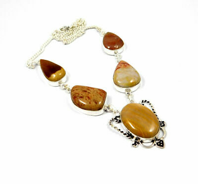 Natural Camel Jasper Gemstone Necklace Silver Plated Bohemian Fashion Gift KD29