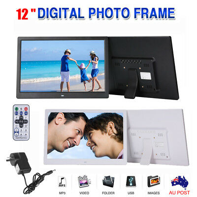 """12"""" HD LED Digital Photo Frame Picture Movie Player 1280p Mp4 Mp3 Remote Control"""